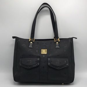Authentic MCM Logo Honshu Black Zip Tote Bag❤️❤️❤️